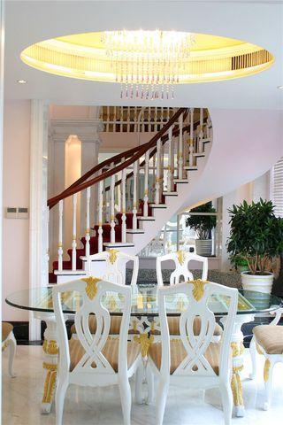 欧式现代风格别墅室内餐厅玻璃餐桌效果图
