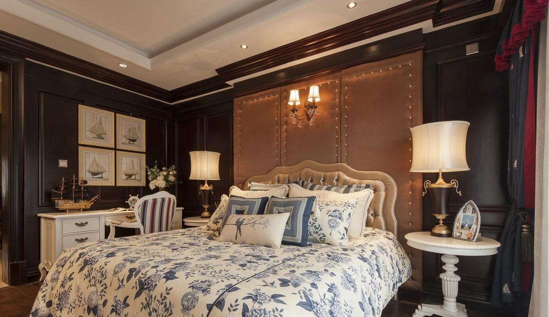 古典豪华欧式卧室小书桌背景墙美图欣赏