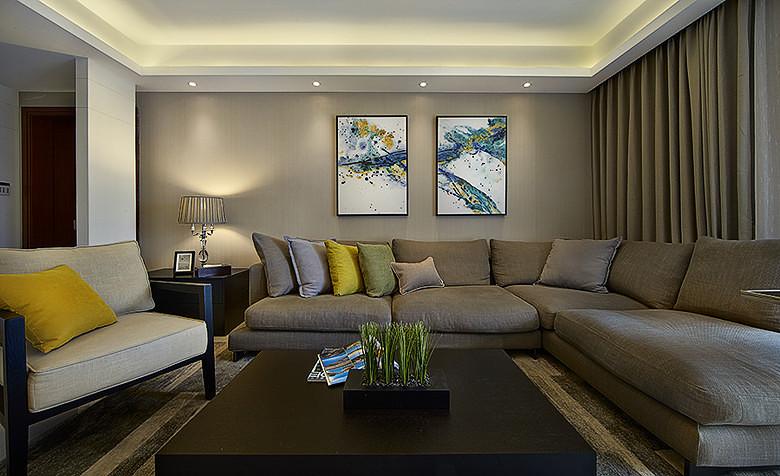 现代典雅格调客厅沙发背景墙效果图