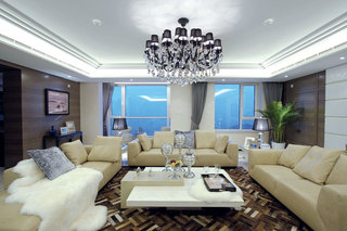 简洁时尚现代客厅布局装修案例图
