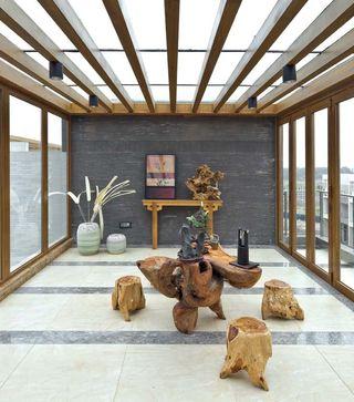 开放式新中式风格别墅休闲区设计装饰效果图