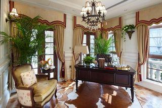 豪华欧式风格别墅室内书房窗户设计欣赏图