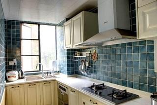 复古地中海风厨房马赛克墙砖效果图