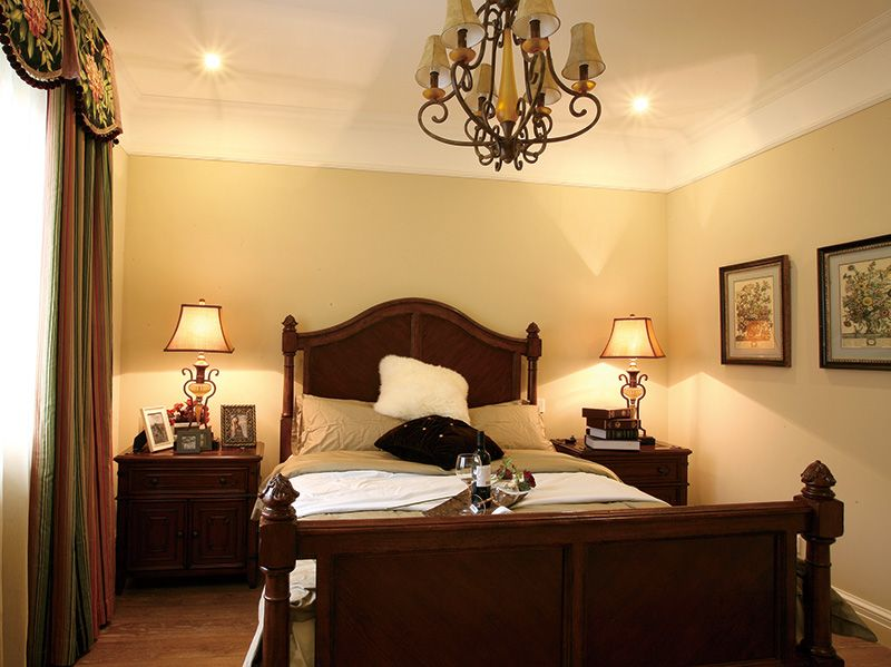 美式简约复古风卧室效果图