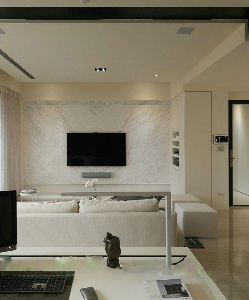 清新明亮现代简约电视背景墙装潢设计图