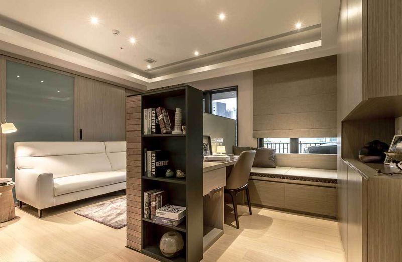 55平现代简约小户型客厅与书房隔断设计效果图