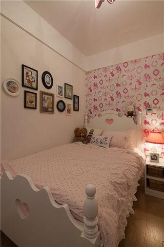 简约粉色系甜美公主房背景墙效果图