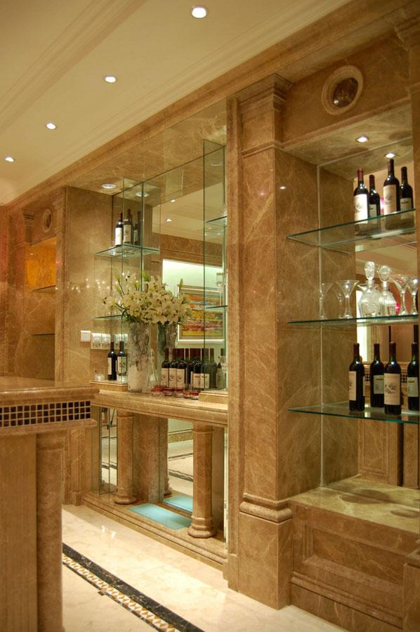 豪华欧式别墅大理石酒柜设计效果图
