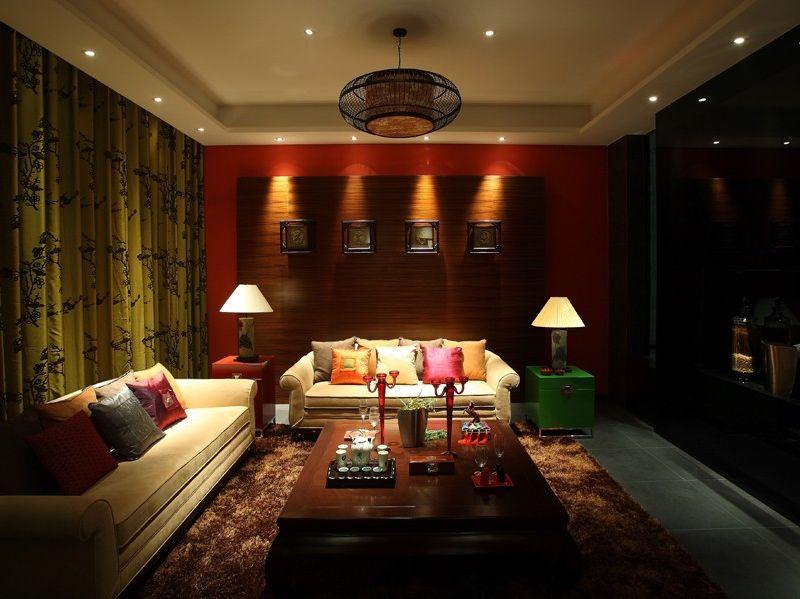 色彩浓重现代中式风格三居客厅装潢效果图片