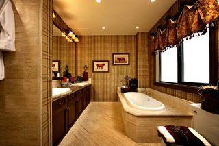 复古格子欧式风浴室背景墙效果图