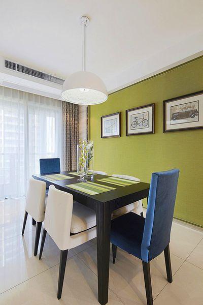现代简约小清新餐厅绿色背景墙效果图