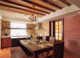 文艺复古田园风餐厅厨房一体效果图