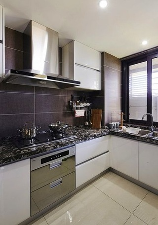 现代时尚厨房L型橱柜效果图