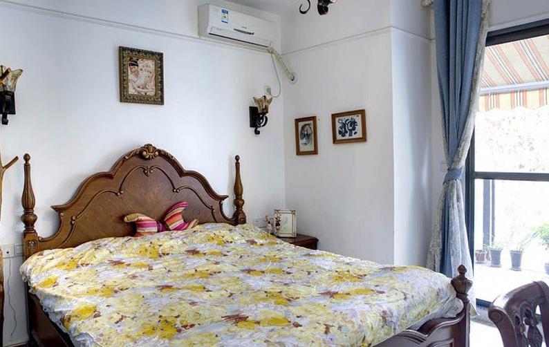 复古欧式卧室实木床效果图