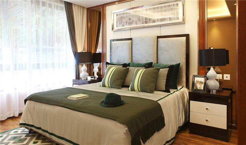 低奢现代波普风卧室软包背景墙效果图