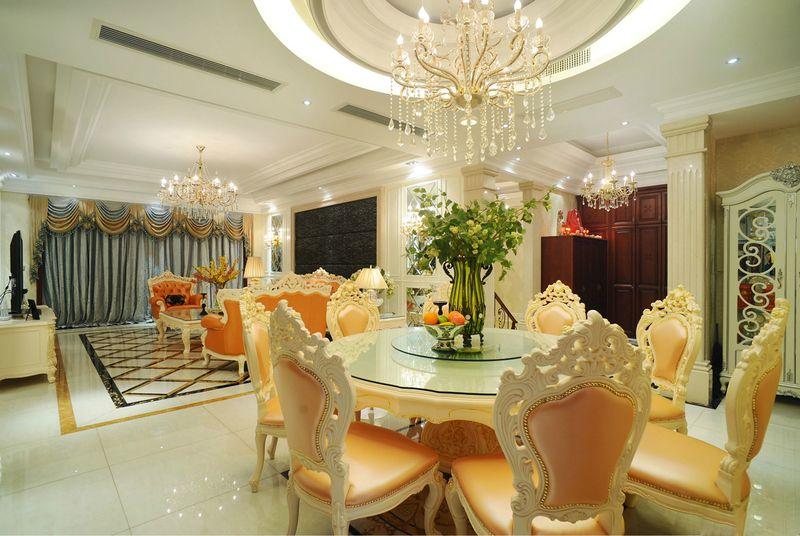 欧式豪华餐厅圆西餐桌效果图