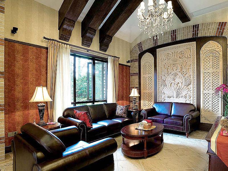 豪华复古田园别墅客厅沙发背景墙装潢效果图