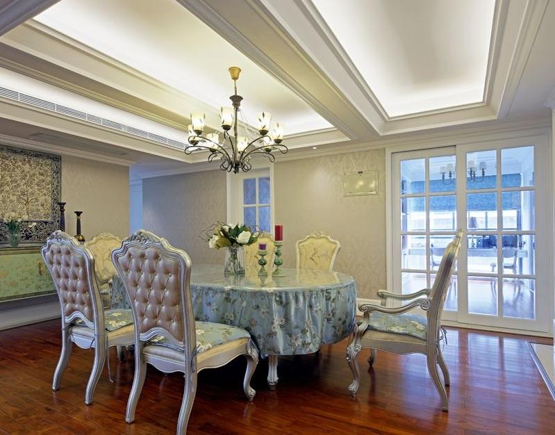 多元化简欧风格室内餐厅吊顶设计装修效果图