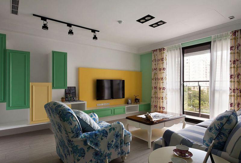 清新美式田园风客厅电视背景墙效果图