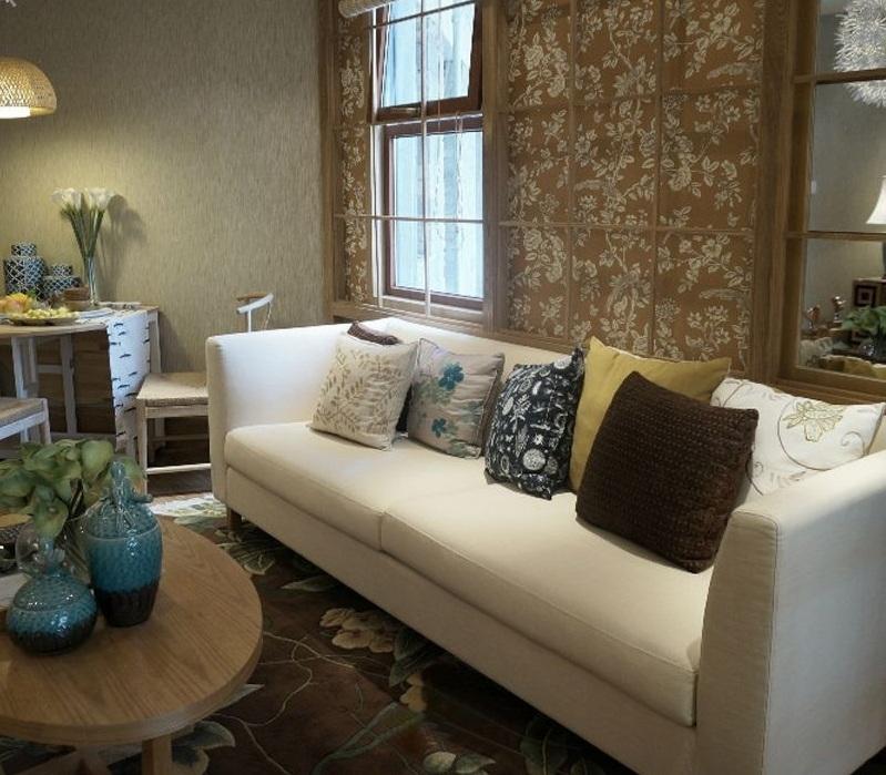 唯美北欧客厅沙发背景墙装修效果图