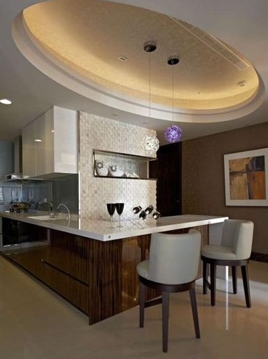 时尚简约现代公寓室内餐厅吊顶装饰图
