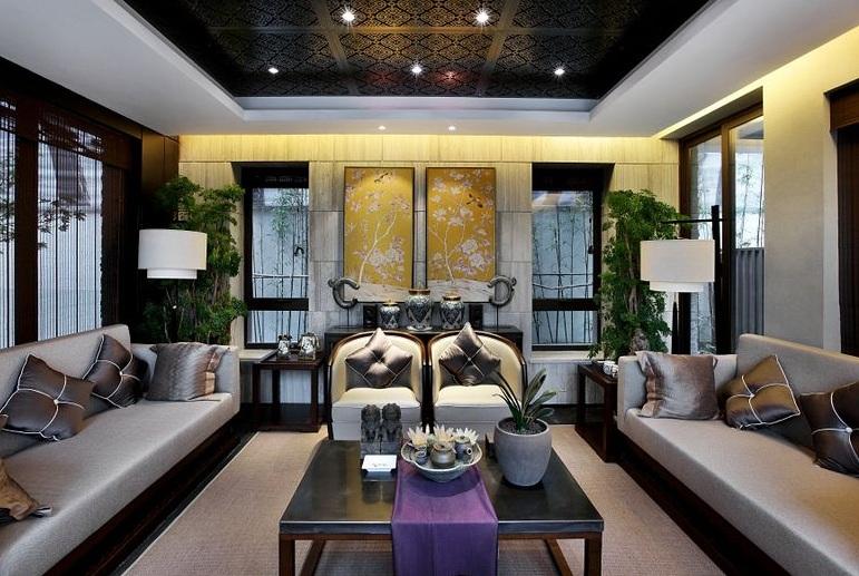 新中式奢华风格客厅沙发背景墙效果图
