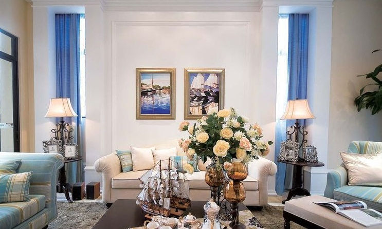 清新美式地中海客厅沙发背景墙效果图