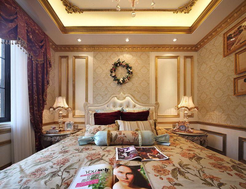 奢华欧式古典风格卧室金色背景墙效果图