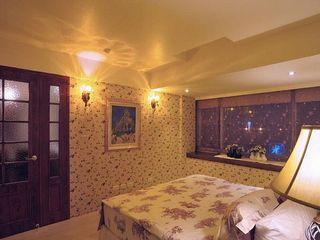 碎花田园复古风卧室背景墙效果图