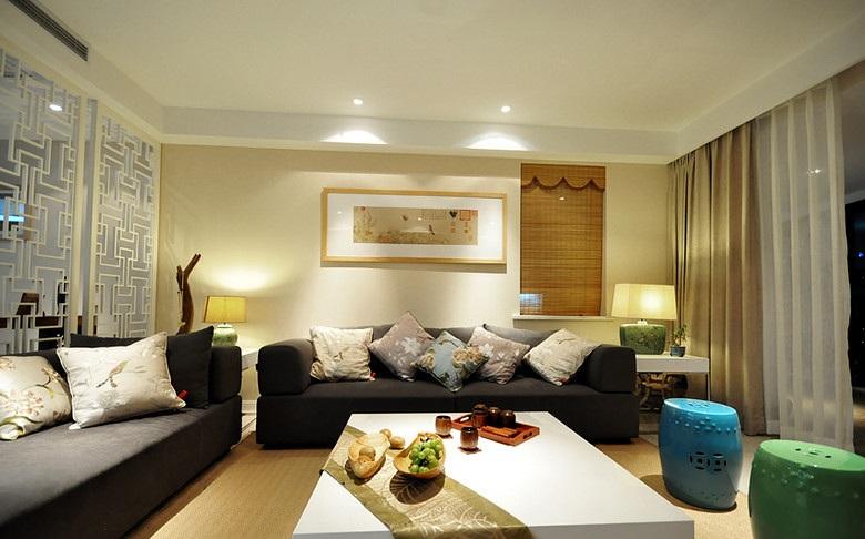 简约中式风格客厅沙发背景墙装饰效果图