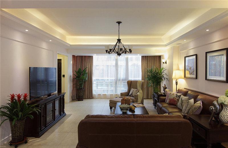 简约美式客厅沙发相片墙效果图