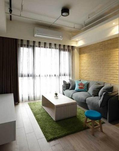 清新简约一居室客厅黄色背景墙效果图