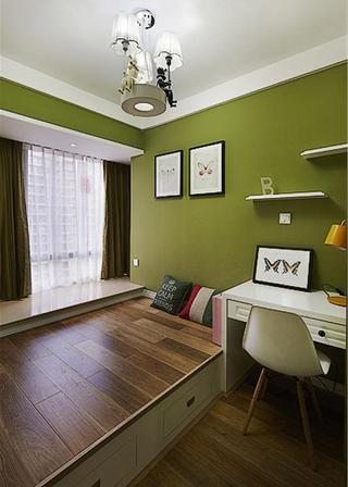 美式风舒适榻榻米绿色背景墙图片