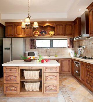 华贵典雅欧式古典复式厨房装饰效果图