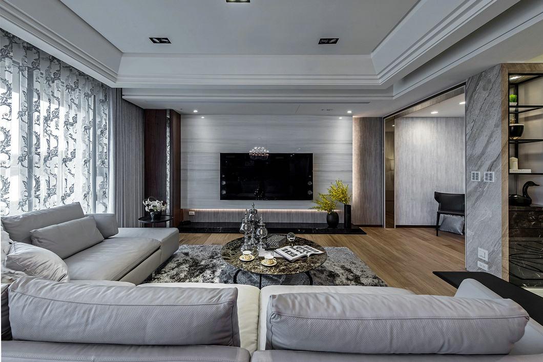 奢华简约后现代客厅电视背景墙效果图