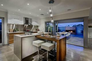 现代时尚开放式厨房原木小吧台设计
