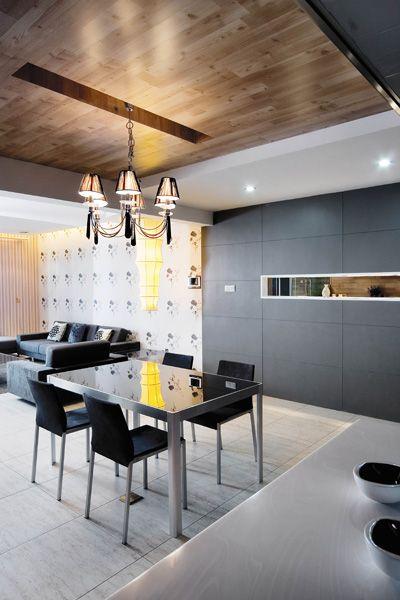现代精致家装餐厅实木吊顶效果图