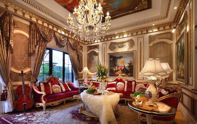 奢华欧式宫廷风格挑高客厅背景墙效果图