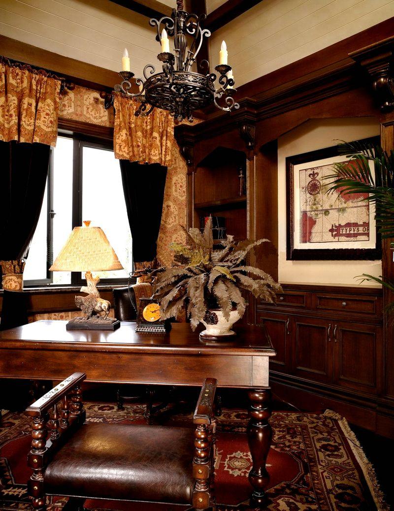 奢华实木纯欧式复古风格书房背景墙效果图