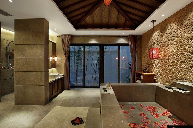雅致现代复古风浴室特色背景墙效果