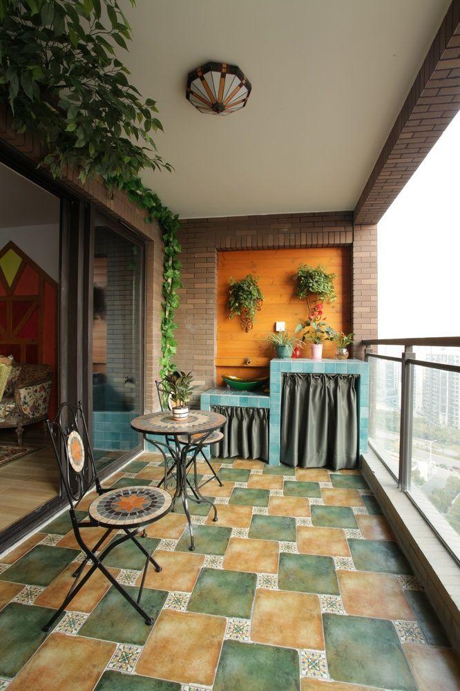 自然悠闲田园风格公寓阳台背景墙效果图片