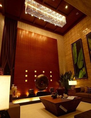 色彩浓郁奢华中式别墅设计室内装潢效果图