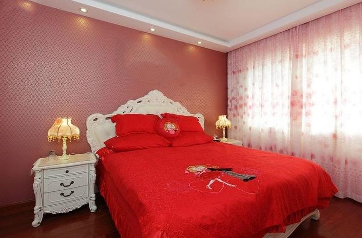 浪漫喜庆简欧风格设计卧室婚房装饰效果图