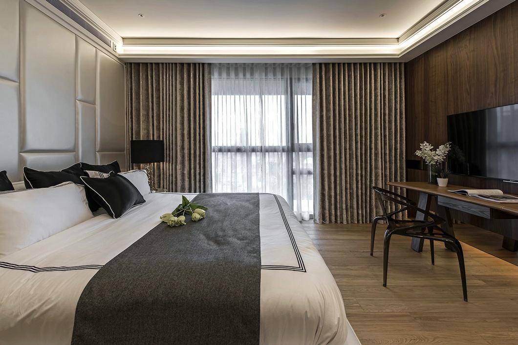 华丽简约现代卧室窗帘效果图