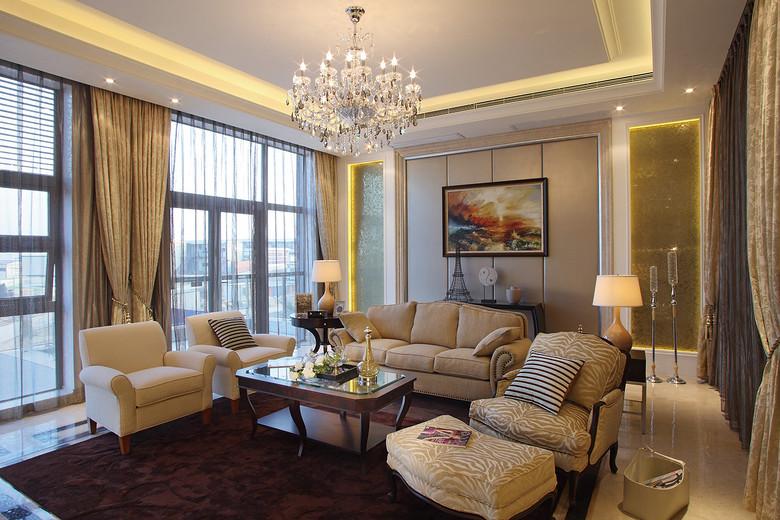 现代简约欧式客厅效果图