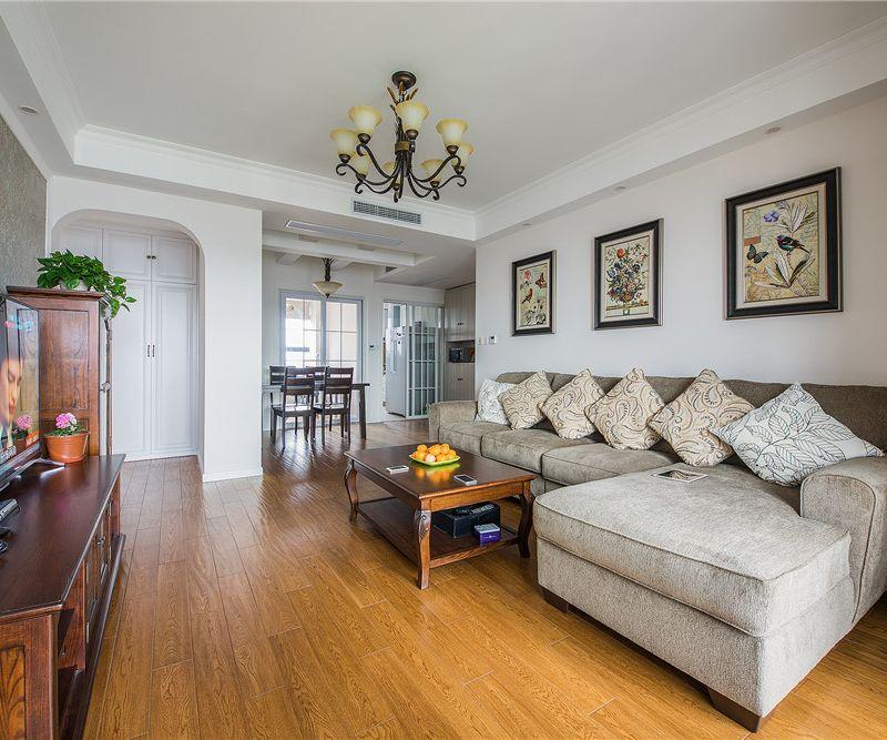 质朴简约美式风格三居室客厅沙发效果图