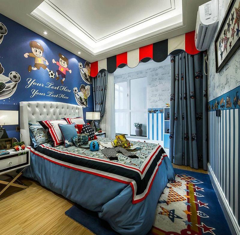 纯美式蓝色儿童房背景墙效果图