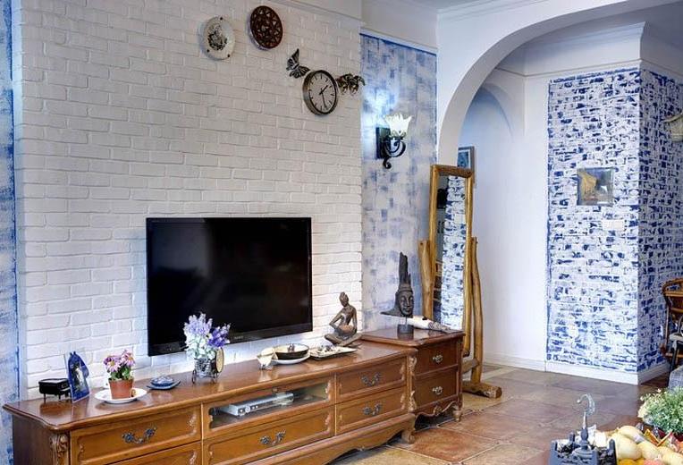 简约复古地中海客厅白色电视背景墙