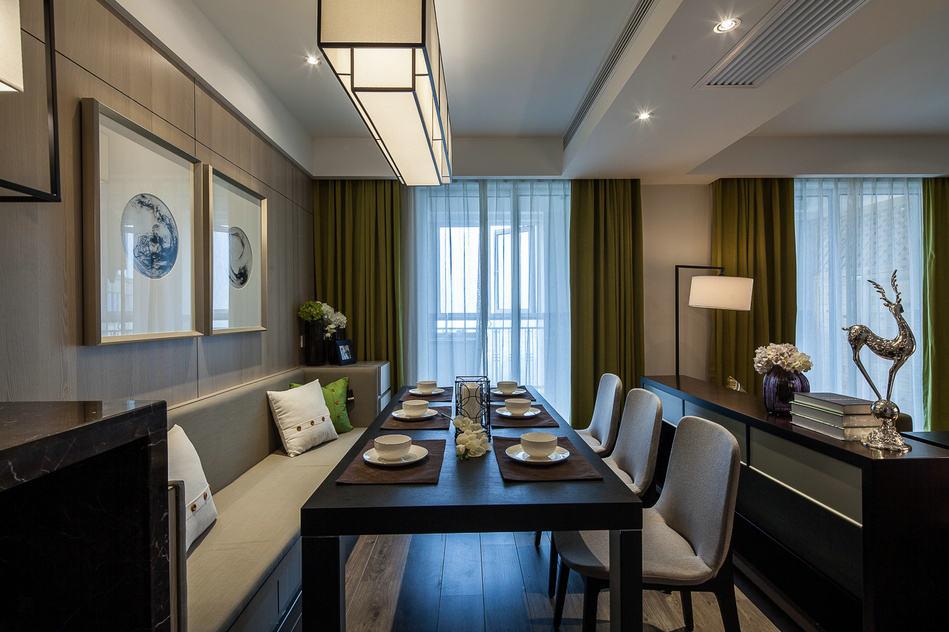 现代新中式混搭餐厅绿色窗帘效果图