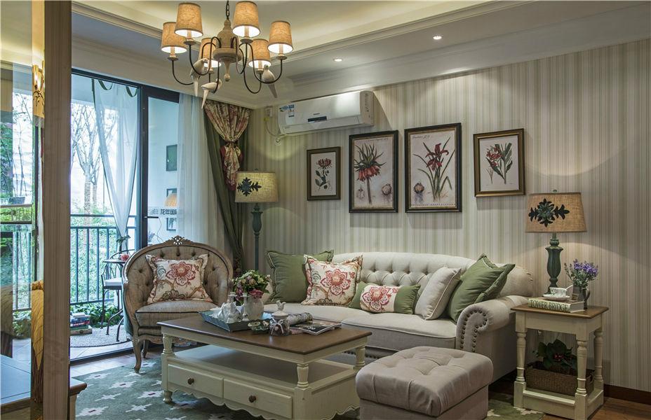 清新美式田园风格小二居客厅装饰效果图